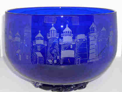 Lighthouse Lane on Glass bowl